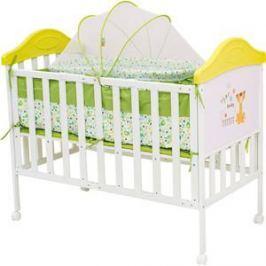 Кроватка BabyHit Sleepy compact Белый с зелёным, с тигрёнком на торце (SLEEPY COMPACT GREEN)