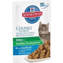 Паучи Hill's Science Plan Healthy Development Kitten Seafish Chunks in Gravy с морской рыбой кусочки в подливке для котят 85г (2113)