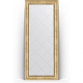 Зеркало напольное с гравировкой поворотное Evoform Exclusive-G Floor 87x207 см, в багетной раме - состаренное серебро с орнаментом 120 мм (BY 6338)