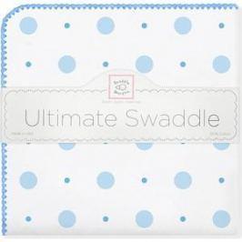 Фланелевая пеленка SwaddleDesigns для новорожденного Blue Big Dot Lt Dot (SD-492B)
