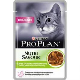 Паучи PRO PLAN Nutri Savour Delicate Cat Pieces with Lamb in Gravy кусочки в соусе с ягненком здоровое пищеварение для кошек 85г (12305655)