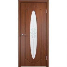 Дверь VERDA Орбита остекленная 2000х600 ПВХ Итальянский орех