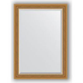 Зеркало с фацетом в багетной раме поворотное Evoform Exclusive 73x103 см, состаренное золото с плетением 70 мм (BY 3457)