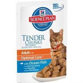Паучи Hill's Science Plan Optimal Care Adult Ocean Fish Tender Chuks in Gravy с рыбой кусочки в подливке для кошек 85г (2105)