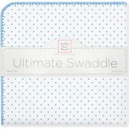 Фланелевая пеленка SwaddleDesigns дл�� новорожденного Bt. Blue Polka Dot (SD-001B)