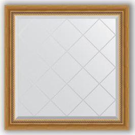 Зеркало с гравировкой Evoform Exclusive-G 83x83 см, в багетной раме - состаренное золото с плетением 70 мм (BY 4303)