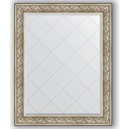 Зеркало с гравировкой поворотное Evoform Exclusive-G 100x125 см, в багетной раме - барокко серебро 106 мм (BY 4381)