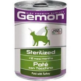 Консервы Gemon Cat Sterilised Pate with Turkey с индейкой паштет для стерилизованных кошек 400г