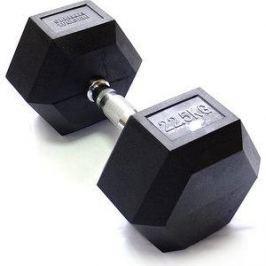 Гантель Original Fit.Tools гексагональная обрезиненная, хромированная ручка, 22,5 кг FT-HEX-22,5