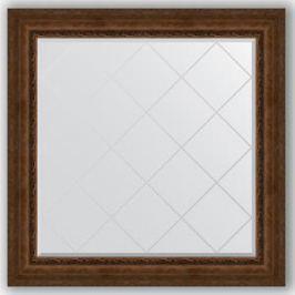 Зеркало с гравировкой Evoform Exclusive-G 112x112 см, в багетной раме - состаренная бронза с орнаментом 120 мм (BY 4472)