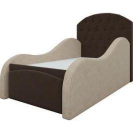 Детская кровать АртМебель Майя микровельвет бежево-коричневый