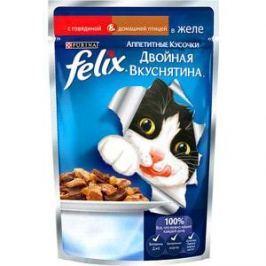 Паучи Felix Двойная вкуснятина аппетитные кусочки в желе с говядиной & домашней птицей для кошек 85г (12294934)