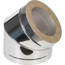 Отвод Феникс сэндвич 120/200 мм угол 45 градусов сталь AISI 430 (1.0 нерж.мат./0.5 нерж.зерк.)(00996)