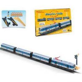 Железная дорога Pequetren металлическая (5,9 м, восьмерка), 1 локомотив, 3 вагона, светофор, мост, стрелки перевод 690