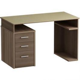 Письменный стол MetalDesign Кварт MD 777.04-04.10 корпус-ясень темный/ стекло-крем