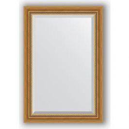 Зеркало с фацетом в багетной раме поворотное Evoform Exclusive 63x93 см, состаренное золото с плетением 70 мм (BY 3431)