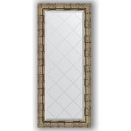 Зеркало с гравировкой поворотное Evoform Exclusive-G 53x123 см, в багетной раме - серебряный бамбук 73 мм (BY 4050)