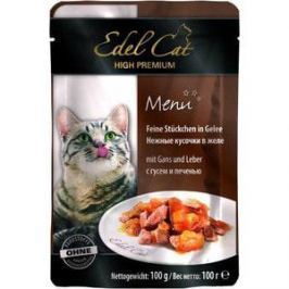 Паучи Edel Cat Menu нежные кусочки в желе с гусем и печенью для кошек 100г (08104)