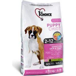 Сухой корм 1-ST CHOICE Puppy Sensitive Skin Lamb, Fish&Brown Rice с ягненком, рыбой и рисом для щенков с чувствительной кожей и шерстью 2,72кг(102.309)