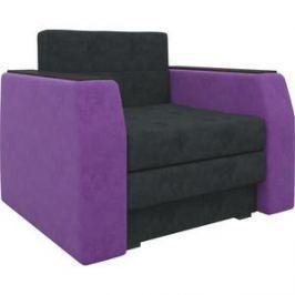 Кресло-кровать АртМебель Атлант микровельвет черно-фиолетовый