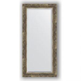 Зеркало с фацетом в багетной раме поворотное Evoform Exclusive 53x113 см, старое дерево с плетением 70 мм (BY 3486)