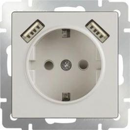 Розетка с заземлением, шторками и USBx2 Werkel слоновая кость WL03-SKGS-USBx2-IP20