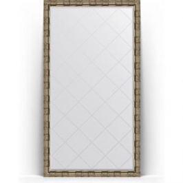 Зеркало напольное с гравировкой поворотное Evoform Exclusive-G Floor 108x198 см, в багетной раме - серебряный бамбук 73 мм (BY 6347)