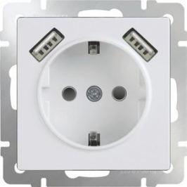 Розетка с заземлением, шторками и USBx2 Werkel белая WL01-SKGS-USBx2-IP20