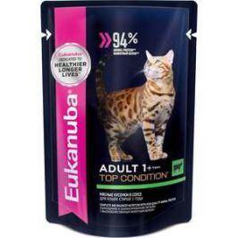 Паучи Eukanuba Adult Cat Top Condition with Beef с говядиной мясные кусочки в соусе для взрослых кошек 85г