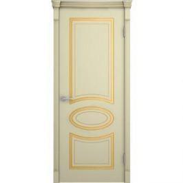 Дверь VERDA Фламенко глухая 2000х600 эмаль Слоновая кость с золотой патиной по фрезеровке