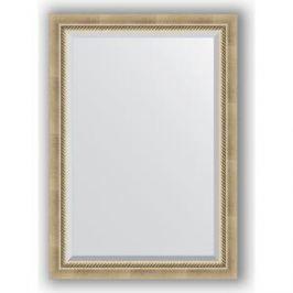 Зеркало с фацетом в багетной раме поворотное Evoform Exclusive 73x103 см, состаренное серебро с плетением 70 мм (BY 1192)