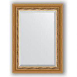 Зеркало с фацетом в багетной раме поворотное Evoform Exclusive 53x73 см, состаренное золото с плетением 70 мм (BY 3379)