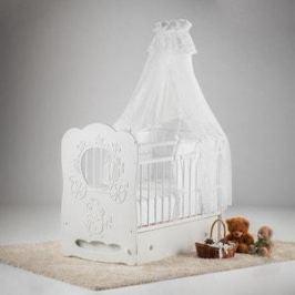 Островок уюта Кровать детская Карета (белый) маятник поперечный с ящиком