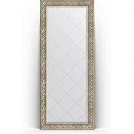Зеркало напольное с гравировкой поворотное Evoform Exclusive-G Floor 85x205 см, в багетной раме - барокко серебро 106 мм (BY 6334)