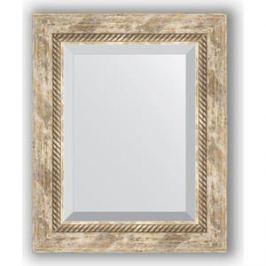 Зеркало с фацетом в багетной раме Evoform Exclusive 43x53 см, прованс с плетением 70 мм (BY 3355)