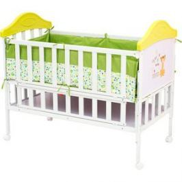 Кроватка BabyHit Sleepy Белый с зелёным, с тигрёнком на торце (SLEEPY GREEN)