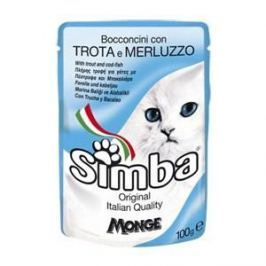 Паучи Simba Petfood Cat Chunkies with Trout and Cod с форелью и треской паштет для кошек 100г