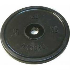 Диск обрезиненный MB Barbell 51 мм 15 кг черный