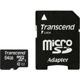 Карта памяти Transcend 64Gb MicroSDXC Class 10 UHS-I, SD adapter (TS64GUSDU1)