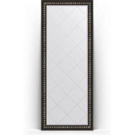 Зеркало напольное с гравировкой поворотное Evoform Exclusive-G Floor 80x199 см, в багетной раме - черный ардеко 81 мм (BY 6308)
