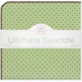 Фланелевая пеленка SwaddleDesigns для новорожденного Lime w/BR Dot (SD-014LM)