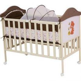 Кроватка BabyHit Sleepy compact Коричневый с бежевым, с медвежонком на торце (SLEEPY COMPACT COFFEE)