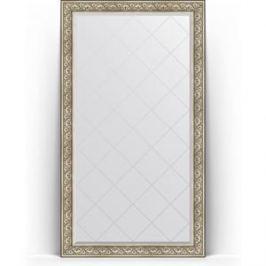 Зеркало напольное с гравировкой поворотное Evoform Exclusive-G Floor 115x205 см, в багетной раме - барокко серебро 106 мм (BY 6374)