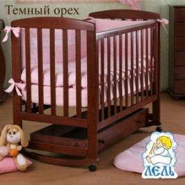 Кроватка Кубаньлесстрой Ромашка ящик (тёмный орех) АБ 16.1