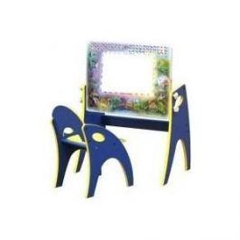 Набор мебели Интехпроект День-ночь парта-мольберт стульчик голубой 14-367