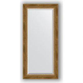 Зеркало с фацетом в багетной раме поворотное Evoform Exclusive 53x113 см, состаренное бронза с плетением 70 мм (BY 3484)
