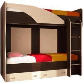 Кровать двухъярусная Стиль Мийа (А) Фасад ЛДСП- Дуб молочный Каркас- венге