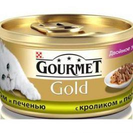 Консервы Gourmet Gold двойное удовольствие кусочки в соусе с кроликом и печенью для кошек 85г (12032395)