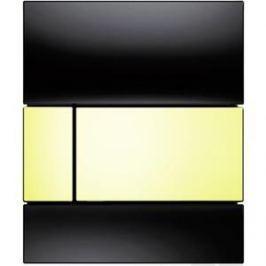 Панель смыва для писсуара TECE TECEsquare Urinal (9242808) стеклянная стекло чёрное, клавиша позолоченная