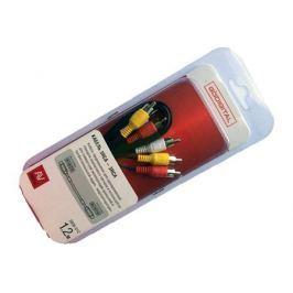кабель 3RCA-3RCA GODIGITAL 3808-012 штекер-штекер 1,2м черн.